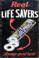 LIFE SAVERS GENERAL STORE  WEATHERED BUILDING DIORAMA SIGN DECAL 3X2  DD132