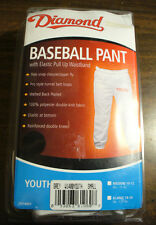 S YOUTH (6-8 , 55-65 lbs),  PULL UP  BASEBALL PANT WHITE - DIAMOND D51400Y