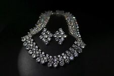 18k White Gold Necklace Earrings Set w/ Swarovski Crystal Luxury Bridal Jewelry