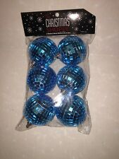 Set of 6 Christmas Holiday Disco Mirror Ball Ornaments Turquoise Blue