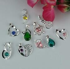 Wholesale 5Pc A+ Plated 925 Silver Mixed Crystal Necklace Charm Pendant IV