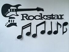 35 DIE CUT BLACK CARD ROCKSTAR GUITAR MUSIC NOTES CROTCHETS QUAVERS TOPPERS ETC