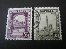 BELGIUM, SCOTT # E3/E4(2), 3.50fr+5.25fr.VALUES 1929 SPECIAL DELIVERY ISSUE USED