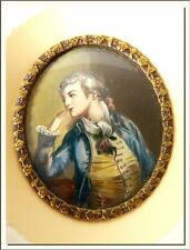 ANTIQUE 1880's ROMANTIC MAN HAND PAINTED MINIATURE PORTRAIT ! VISIT MY STORE !