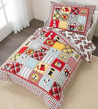 KidKraft 4 pc Fire Truck Dalmation Toddler Bed Bedding Comforter Sheets Set NEW
