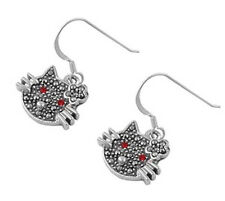 Kitty Cat Marcasite Earrings Sterling Silver 925 Vintage Animals Jewelry Gift