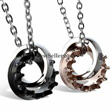 1pair Fashion Stainless Steel Imperial Crown Pendant Mens Womens Chain Necklace