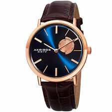 Men's Akribos XXIV AK848RGBU Classic Date Blue Dial Brown Leather Strap Watch