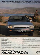 Publicité Advertising 1986  RENAULT 25 V6 Turbo