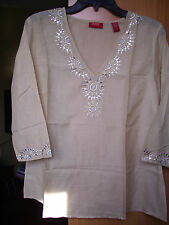 NWT Valerie Stevens Romantic Embroidery Beads Tunic/Cover-up/Blouse Beige Small