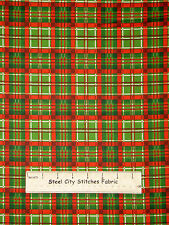 Christmas Traditional Plaid Fabric 100% Cotton By The Yard Deck The Halls #6187