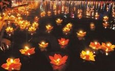 Floating Lotus Flower Paper Candle Lanterns Wishing Lamp Home for Party 10x