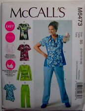 McCalls Sewing Pattern 6473 Misses Uniforms Scrubs Top Pants Size 8-16  EASY