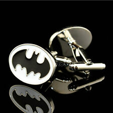 Silver Men's Superhero Batman Cufflinks Cartoon Movie Wedding Party Cuff Links