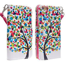 Rainbow Tree Wallet Stand Case Cover with Wristlet For Apple iPhone 6s Plus 5.5""