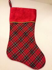 Christmas Holiday Stocking Tartan Plaid Red Black and Gold with Red Cuff