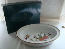 Royal Worcester EVESHAM GOLD Edge Oval Dish Pie Bake Rim Deep Peaches/Berries