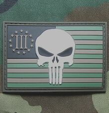 USA PUNISHER 3 PERCENTER FOREST FLAG RUBBER 3D PVC GLOW GITD VELCRO® BRAND PATCH