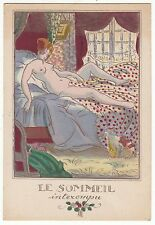 CARTE POSTALE  PIN UP FEMME LE SOMMEIL INTEROMPU