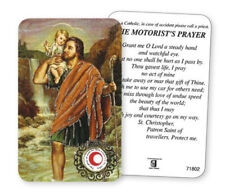 SAINT CHRISTOPHER LAMINATED PRAYER CARD WITH RELIC - THE MOTORIST'S PRAYER