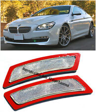 For 12-Up BMW F12 F13 6-Series CLEAR Front Bumper Reflector Side Marker Lights