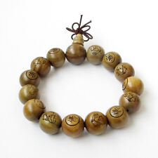 15mm Sandalwood Word FO Happy Buddha Beads Tibet Buddhist Prayer Bracelet Mala