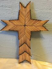 Vintage FOLK ART - TRAMP ART STAR CROSS MATCH STICK ART AMERICANA