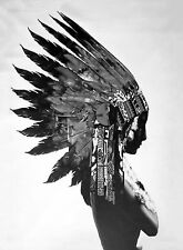 A1 SIZE PRINT INDIAN BLACK FEATHER NATIVE AMERICAN  POSTER WALL DECOR