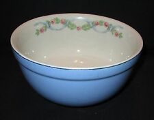 """Vintage HALL's Blue Wildfire Mixing Bowl  7"""" Ribbon & Roses Cream Interior"""