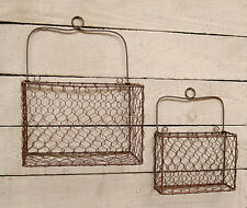 Vintage Chic n Shabby French Country Rusty Metal Chicken Wire WALL Basket Handle