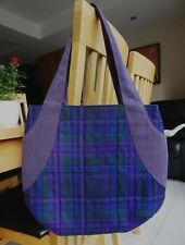 Handmade quilted tartan and denim tote bag