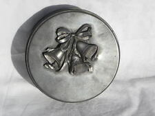 Vintage 1992 Tin with a Metzke Pewter Christmas Bells Decoration on Top
