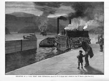 COAL INDUSTRY HISTORY DEPARTURE OF A COAL FLEET FROM PITTSBURGH RIVER BARGES