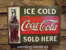 Coca Cola Ice Cold Sold Here Metal Tin Sign Bottle COKE Vintage Style Movie