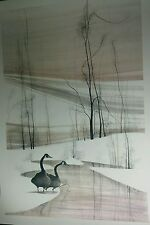 """Rare! Large Signed P Buckley Moss Print WINTER MAJESTY Canadian GEESE 48"""" x 32"""""""