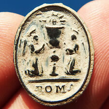 ANTIQUE HOLY GRAIL & IMMACULATE CONCEPTION MEDAL OLD 17TH CENTURY CHARM PENDANT