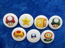 """1"""" pinback button set inspired  by """"Super Mario Brothers Power Ups"""" Nintendo Nes"""