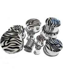 "PAIR-Zebra Color Changing Steel Double Flare Plugs 12mm/1/2"" Gauge Body Jewelry"