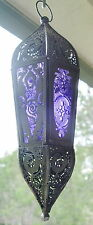 GLASS & METAL GODDESS TEMPLE LANTERN CANDLE HOLDER Wicca Pagan Witch Goth  Altar