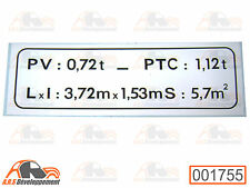"Autocollant ""plaque de tare"" NEUF citroen mehari 4 x 4 ( pas 2cv ) 1755 -"