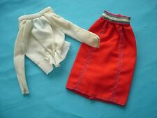 1975 Get ups 'n Go Barbie doll outfit Tricot Blouse and SKirt  MOD vintage