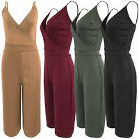 NEW WOMEN STRAPPY BRA TOP CULOTTES SHORTS LADIES 3/4 PLAYSUIT WRAPOVER LOOK SUIT