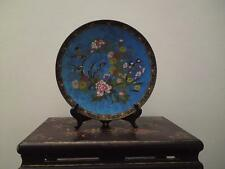 Antique Japanese Meiji Cloisonne enamel charger peony chrysanthemum orchid bird