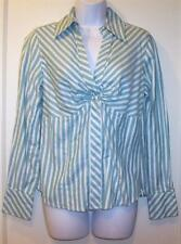 Ann Taylor Loft Women's Knotted Front 6 Green White Striped Shirt