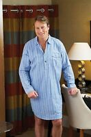 NEW Mens Champion Brushed 100% Cotton Striped Nightshirt Light & Dark Blue 3173