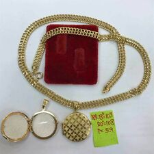 18k gold necklace with lacqued pendant authentic saudi gold 18inches chain!,