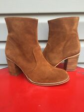 HOUSE OF HARLOW 1960 ARABELLA SUEDE BOOTIE ANKLE BOOT COGNAC BROWN SIZE 8.5 $195