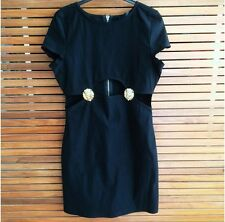 Rare Short Black Dress With Gold Lion Detail Size 12 RRP £35.00