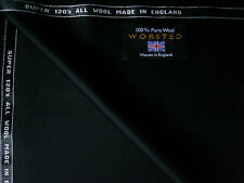 100%FINEST SUPER 120'sWOOL WORSTED SUITING FABRIC IN BLACK-By Martin Sons**-3.9m