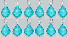 12 CHANDELIER CUT GLASS CRYSTALS LEAF DROPS TURQUOISE AQUA WEDDING PRISM BEADS